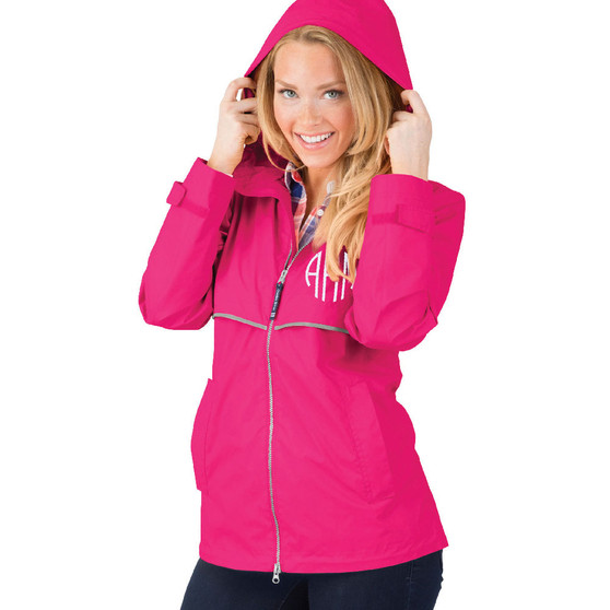 Monogram Hot Pink Adult Rain Jacket│HandPicked │Charles River
