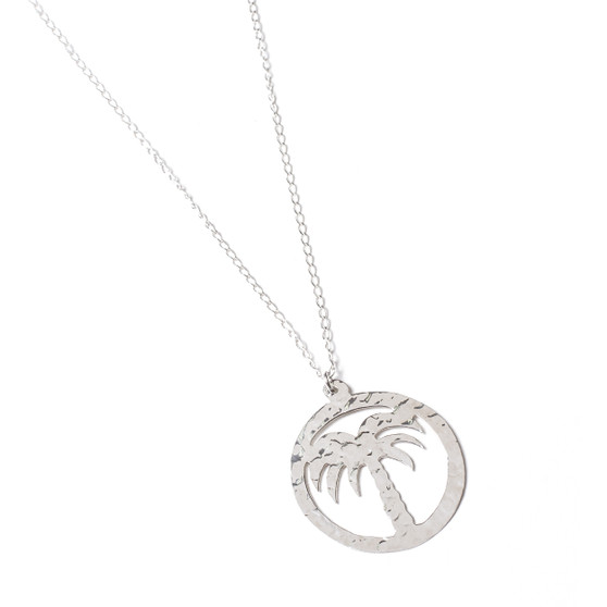 Hammered Silver Palm Necklace│HandPicked