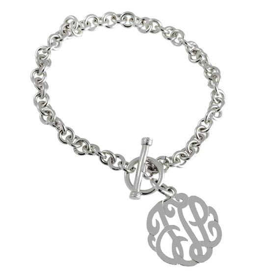 Monogram Bracelet Script Cutout Link - Sterling Silver