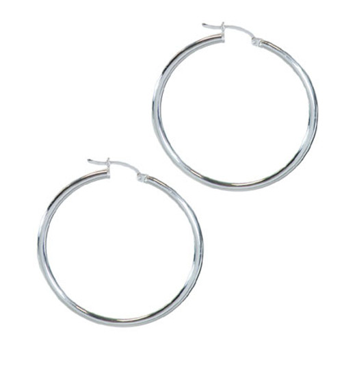 Large Classic Sterling 40MM Hoops Clip Clasp