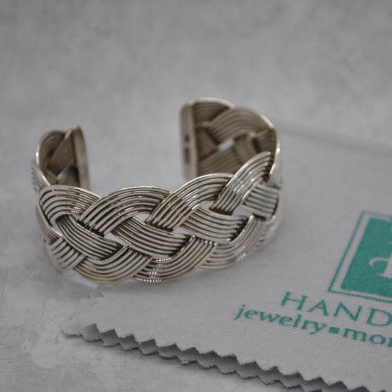 Artisan Crafted Braided Sterling Silver Cuff Bracelet