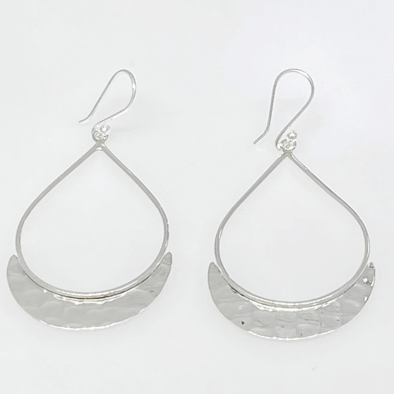 Hammered Bottom Tear Simple Statement Exclusive Design - Sterling  Silver Earring