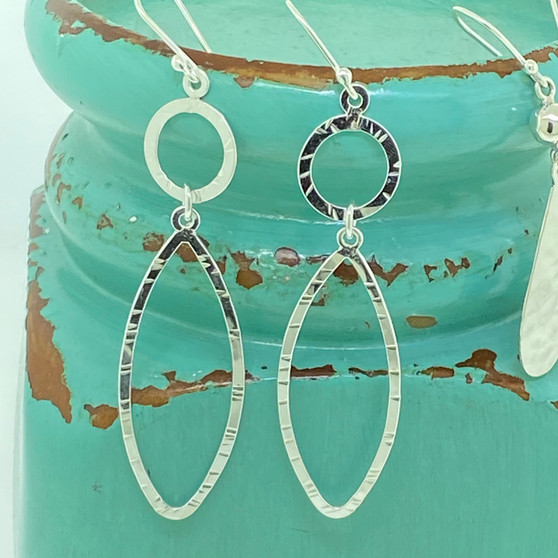 Hand Cut Detail Open Links Exclusive Design - Sterling  Silver Earring