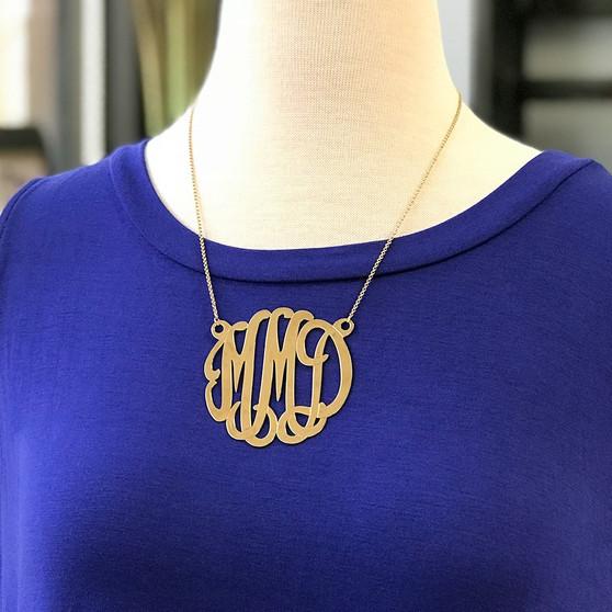 Large Gold Plated Silver Script Monogram Cutout Pendant Necklace