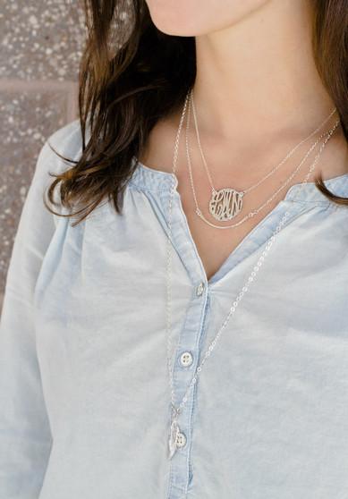 "Small Script Cutout 7/8"" Pendant Monogram Necklace - 24K Gold Plated"