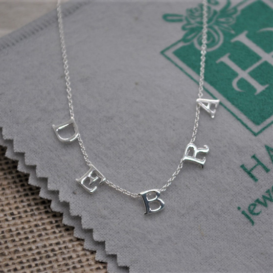 """Spaced Letter Custom Monogram Necklace on 16"""" +2"""" chain - Sterling Silver"""