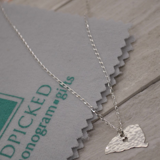 HP Exclusive Hammered SC State Cutout with Heart Sterling Silver Necklace
