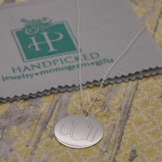 """Everyday Monogram 1.5"""" Sterling Silver Disc on 16""""+2"""" Chain"""