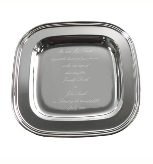 """The """"Invitation"""" Tray - Mongoram 11.5"""" Square Silver PlatedTray - Unique Gift"""