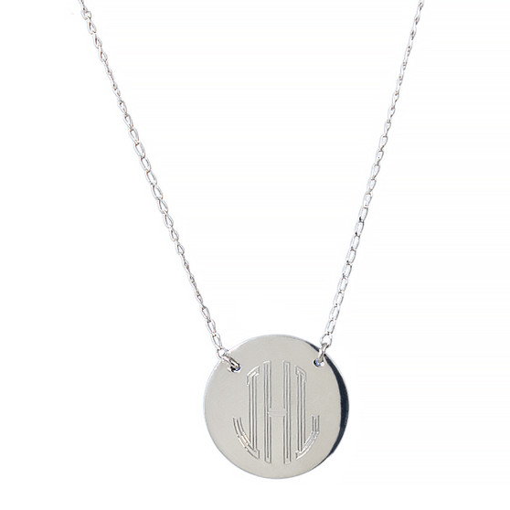"Artisan Crafted Suspended 1"" Monogram Disc on Split Chain -  Sterling Silver 16""+ 2"""