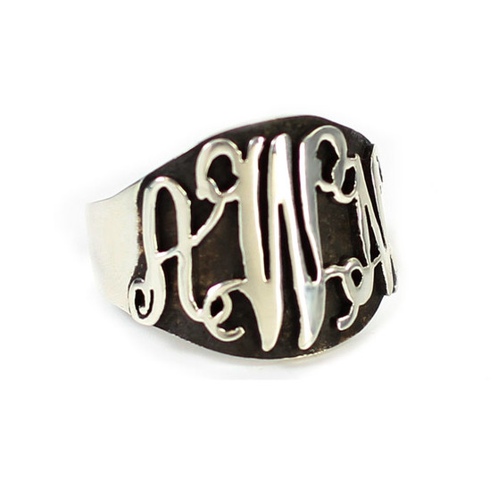Personalized Oxidized Silver Script Cutout Ring - Handmade