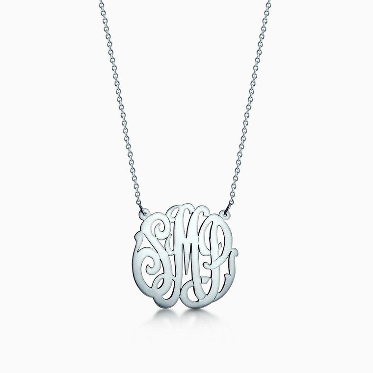 1 inch - Sterling Silver 3 initial Monogram Cutout Necklace