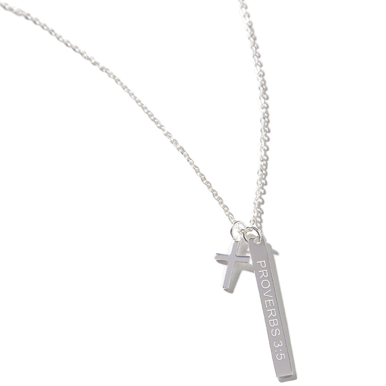 Proverbs 3:5 Bar & Cross Necklace - HandPicked Exclusive Sterling Silver Design