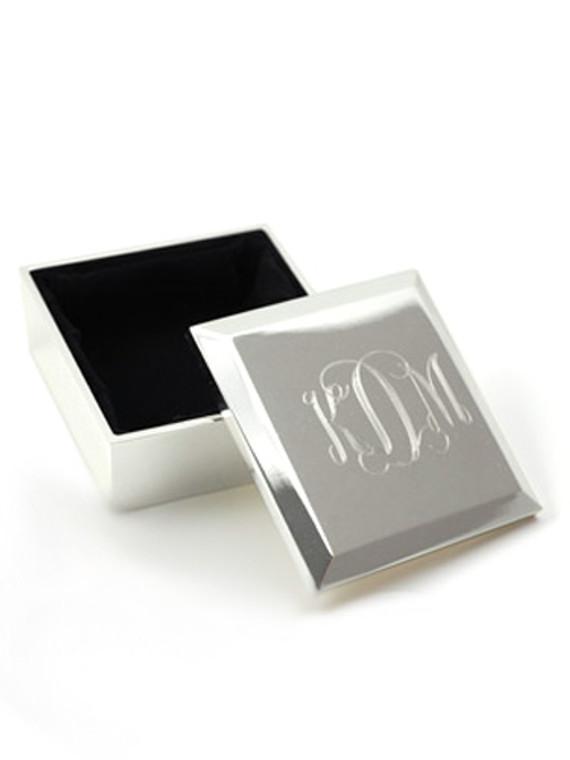 Monogrammed Square Beveled Lift Top Keepsake Box
