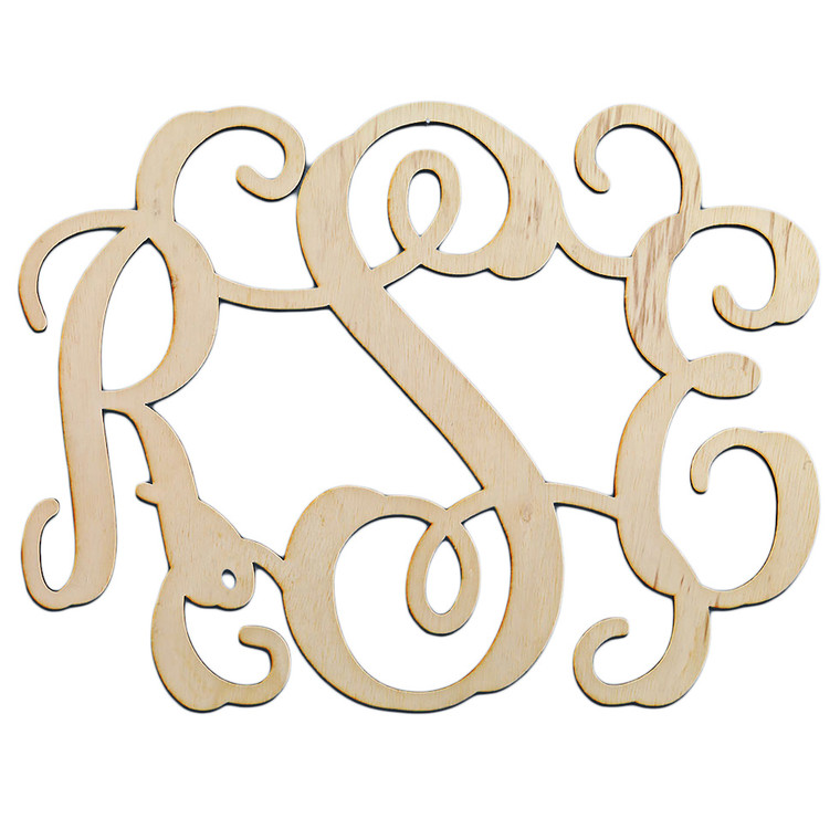 Traditional 3 Initial Monogram Wooden Cutout    HandPicked