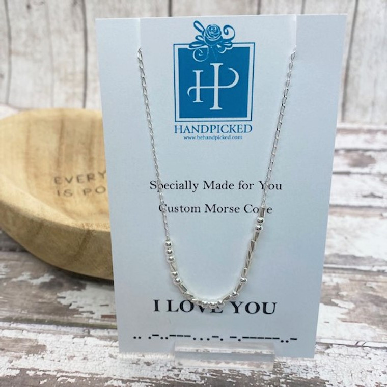 """""""I LOVE YOU"""" Morse Code Custom Sterling Silver Necklace - HP Exclusive Design"""