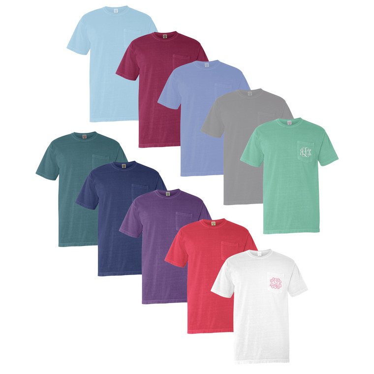 Off to College - Comfort Colors Short Sleeve Monogram Tee - Choose Your Color