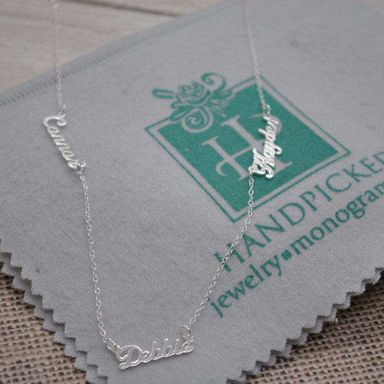 3 Name Cutout Family Necklace Personalized to Your Unique Style - Sterling Silver