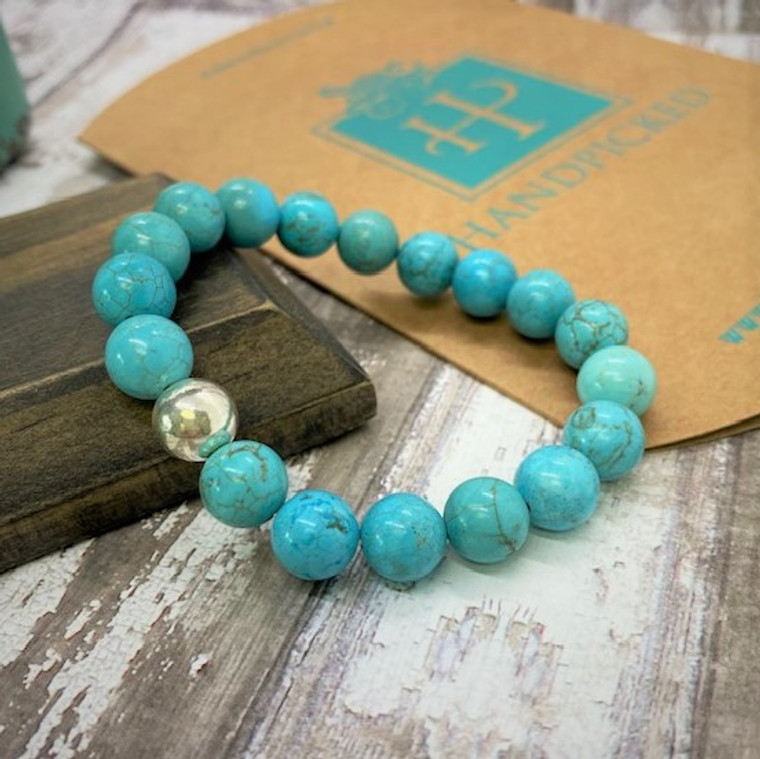HP Exclusive Soothing Touch Sterling & Stone Stretch Bead Bracelet - Turquoise
