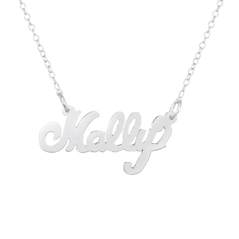 Monogram Cutout Nameplate Necklace - Sterling Silver