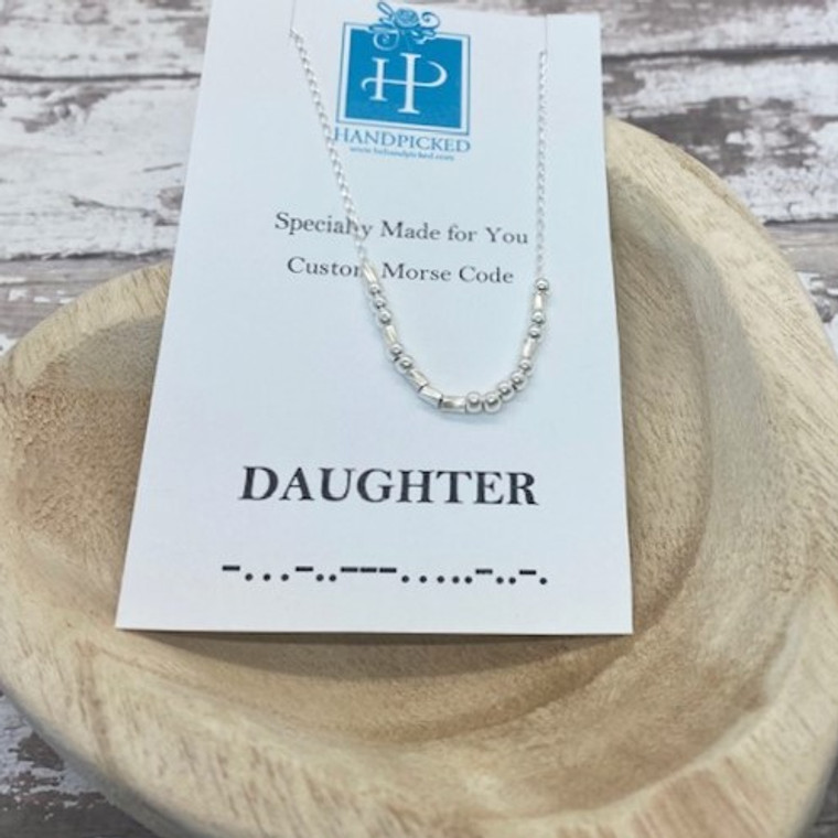 """""""Daughter"""" Morse Code Necklace  Sterling Silver"""