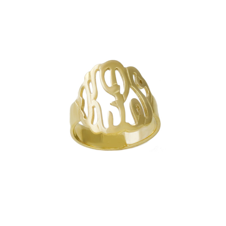 Top Selling Personalized Script Cutout Ring - Gold Plated
