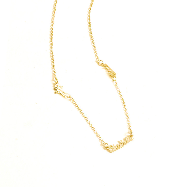 3 Name Cutout Family Necklace Personalized to Your Unique Style - Gold Plated