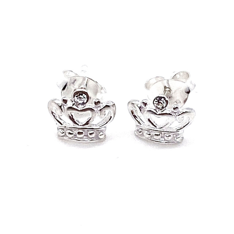 Cut Out Crystal Crown Stud Earring