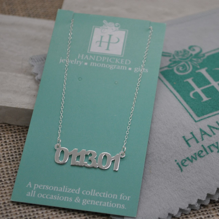 New ~ Special Date Monogram Cutout Necklace - Anniversary, Birthday, Child Birth, etc. - Sterling Option