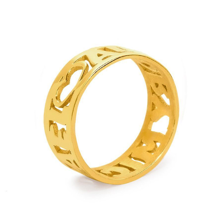 All Around Cutout Monogram Ring - 2 Name Ring - Gold Plated Sterling