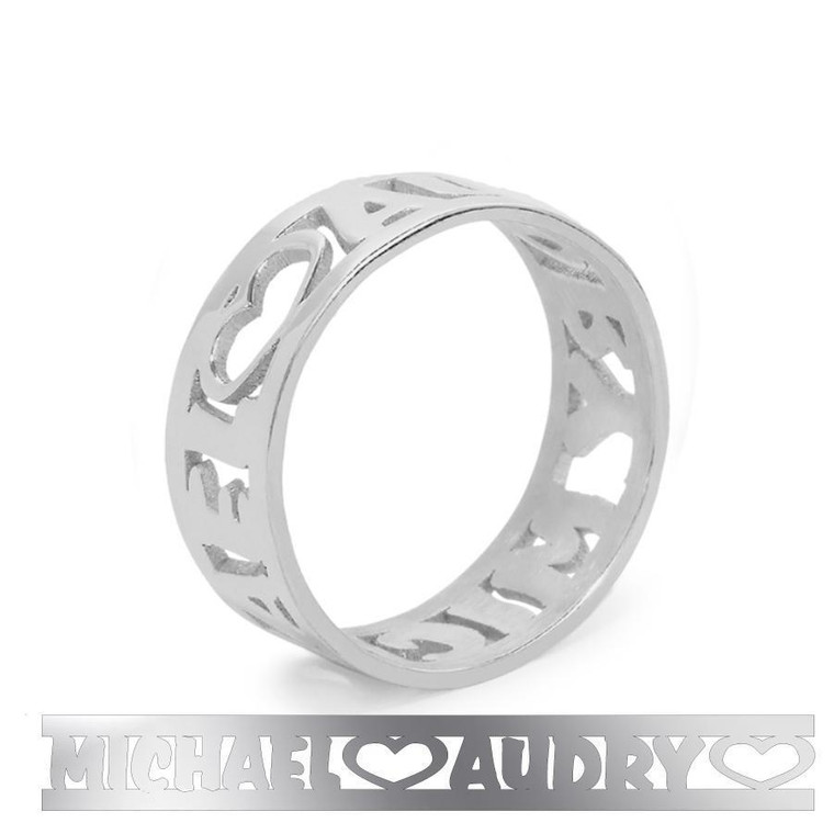 All Around Cutout Monogram Ring - 2 Name Ring Sterling Silver