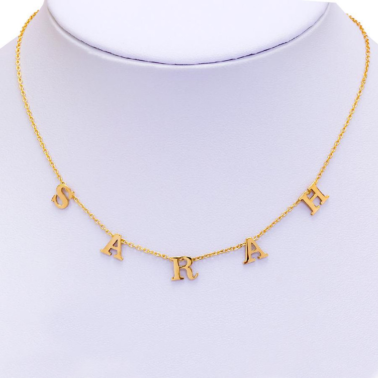 """Spaced Letter Custom Monogram Necklace on 16"""" +2"""" chain - 14K Gold Plated"""