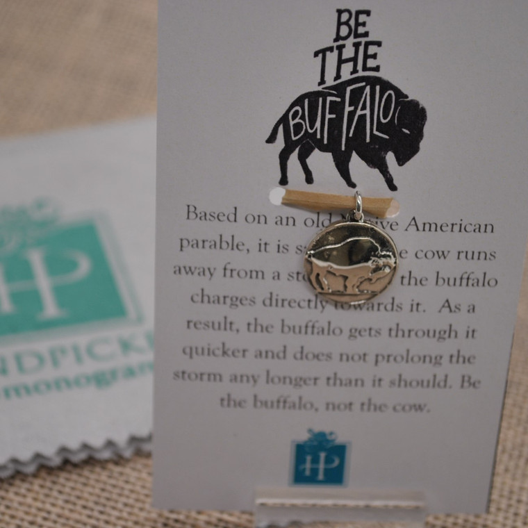 """Sterling Silver """"Be the Buffalo"""" Inspirational Charm & Gift"""
