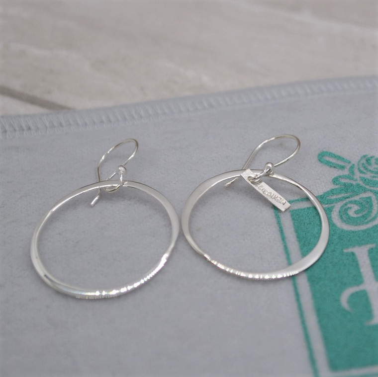 """Organic 1"""" Circle Link  Sterling Silver  HandPicked Earring"""