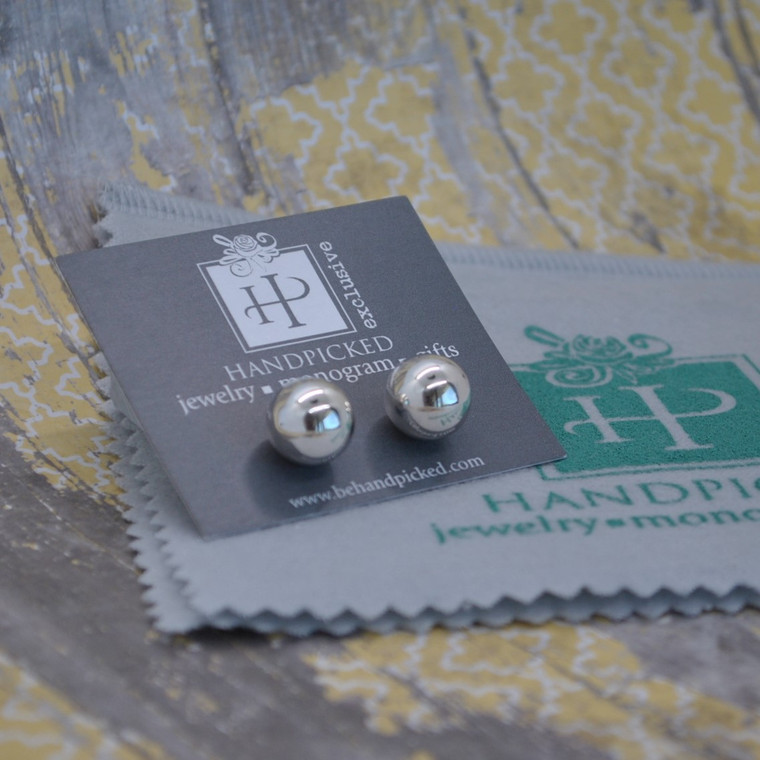Classic Sterling Silver 8mm Sterling Silver Bead Earring