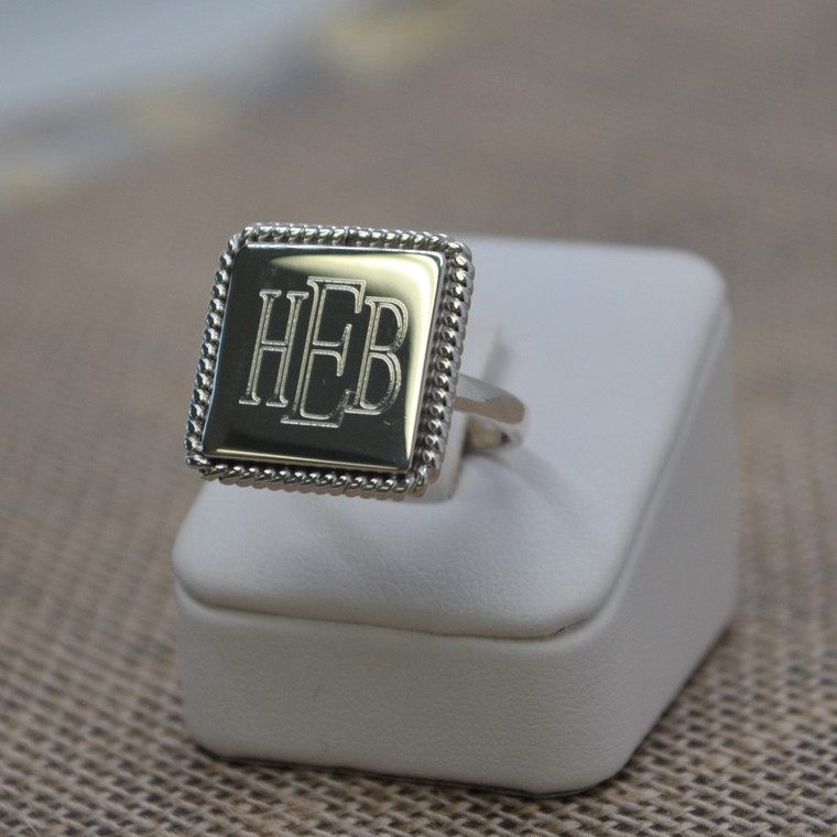 NEW Exclusive Square Sterling Silver Rope Edge Monogram Ring