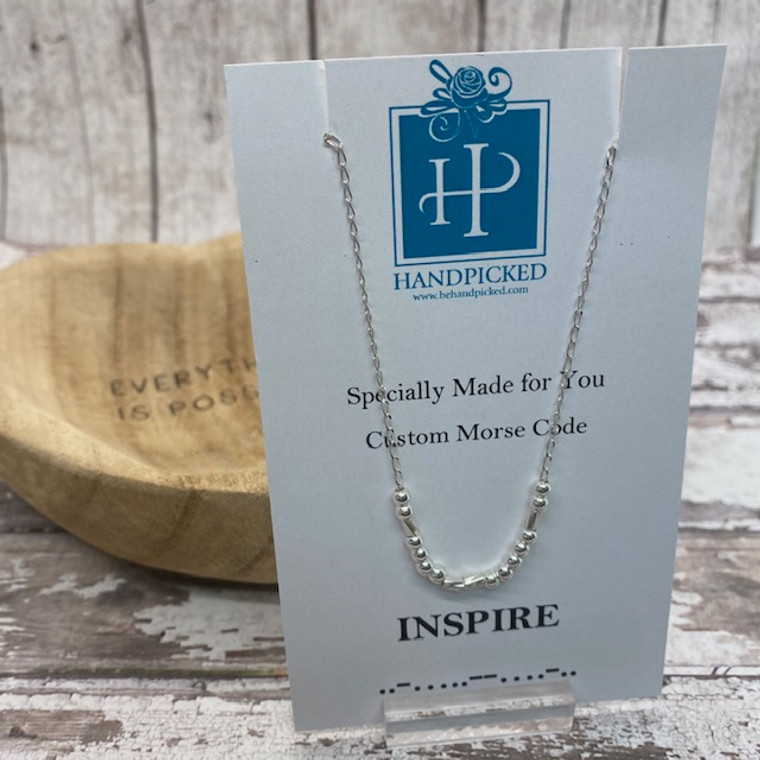 """""""INSPIRE"""" Morse Code Necklace - Exclusive HandPicked Sterling Silver Design"""
