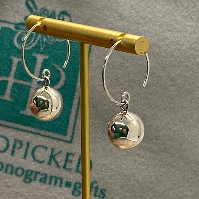 Sterling Silver Earring - 12mm Bead on Circle Hook HP Exclusive