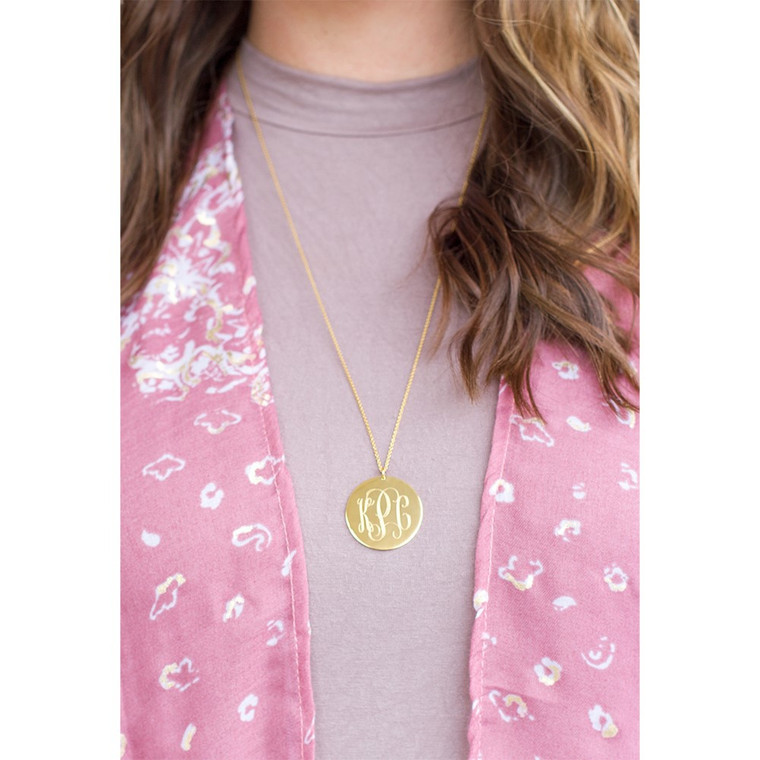 """Best Seller!  Monogram 32mm Gold Plated Sterling Silver Disc on 30""""Long Chain"""