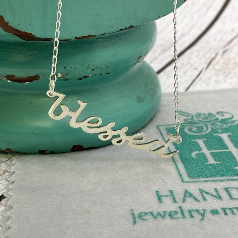 """""""Blessed"""" Sterling Silver Custom Word Script Necklace - Artisan Crafted"""