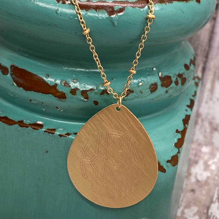 Exclusive to HandPicked - Monogram Teardrop Long Fashion Necklace - Matte Gold