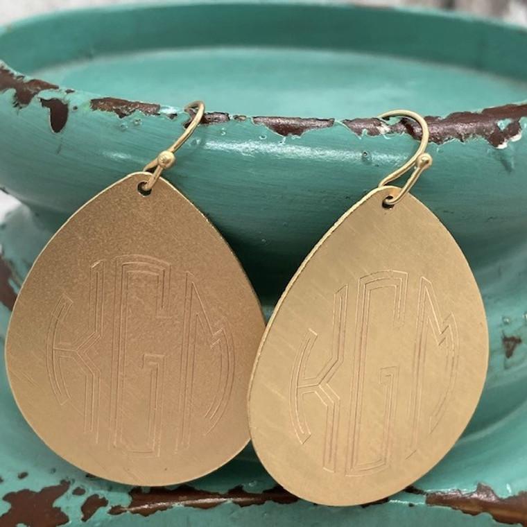 "Monogram Exclusive - Teardrop Fashion 1.5"" Earrings - Matte Gold"