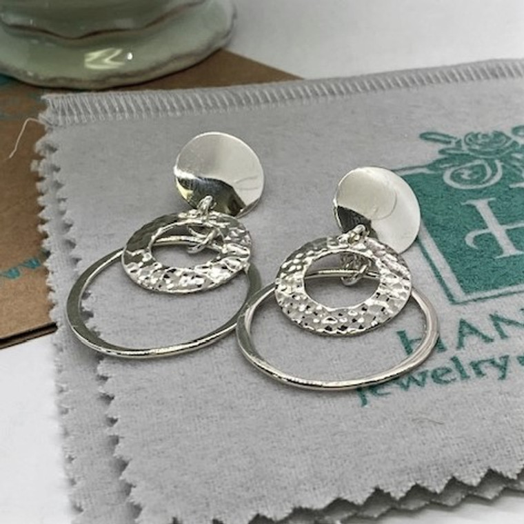 """Circle Post with Organic layered Hammer and Plain Circle Dangles - 1.5""""  HP Artisan Crafted Sterling Silver Earrings"""