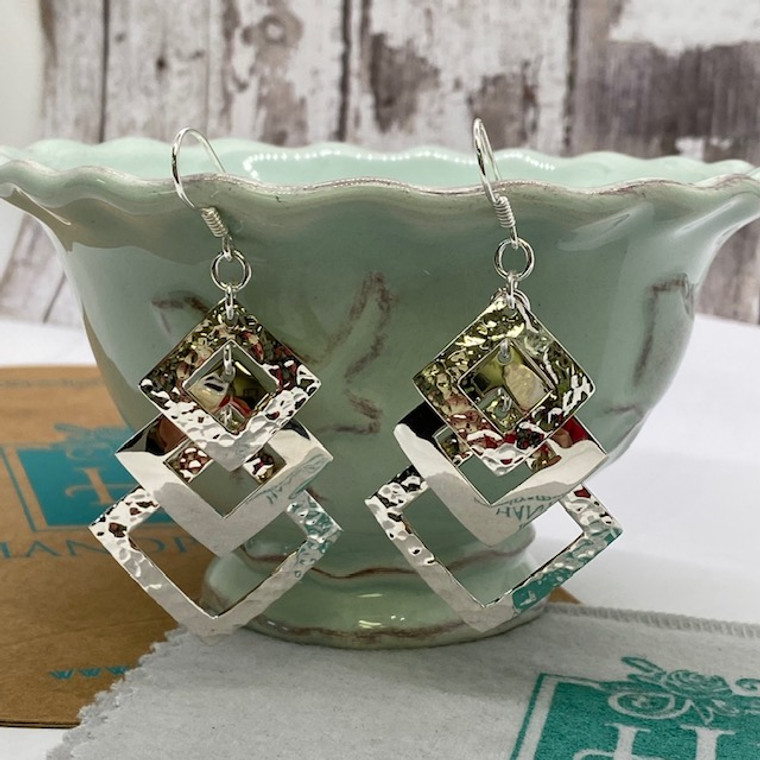 """Graduated Triple Diamond Dangles Statement Unique Design - 2""""  HP Artisan Crafted Sterling Silver Earrings"""