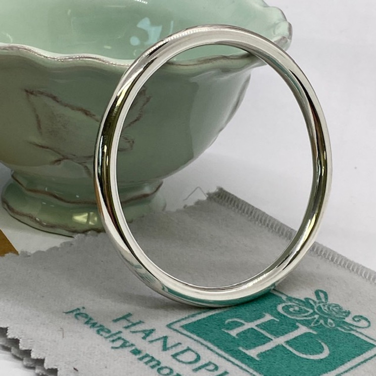 """Substantial Plain Silver Round Bangle - 6mm x 2.75"""" diameter  -  HP Artisan Crafted Sterling Silver Bracelet"""