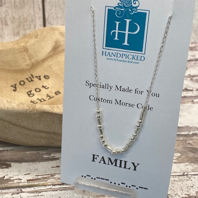 """""""Family"""" Custom Sterling Silver Morse Code Necklace - HP Exclusive Design"""