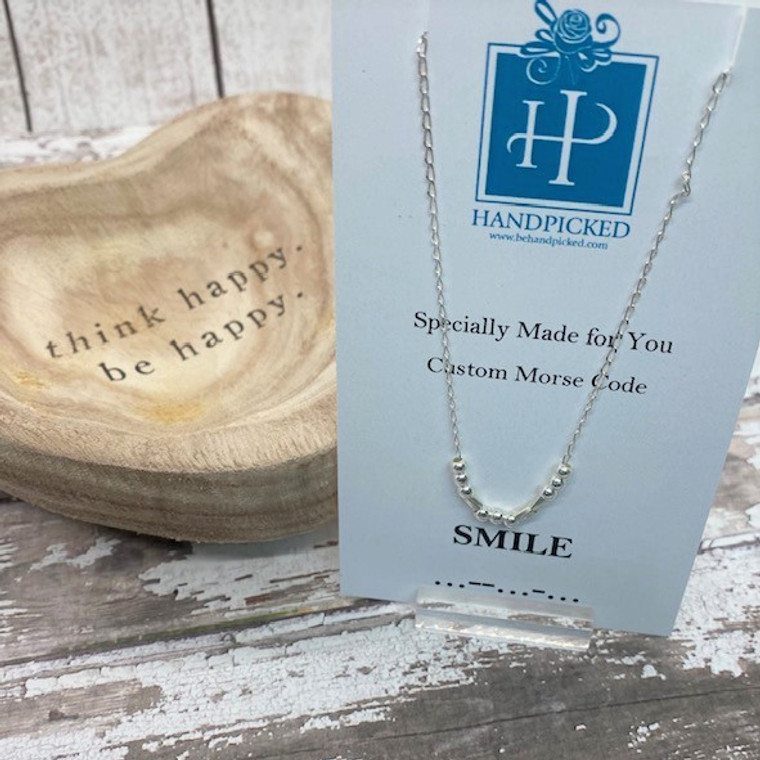 """""""Smile"""" Custom Sterling Silver Morse Code Necklace - HP Exclusive Design"""