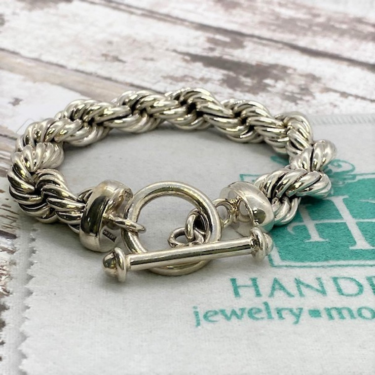 """Classic 12mm Rope HP Artisan Crafted Sterling Silver Bracelet - 8.5"""""""
