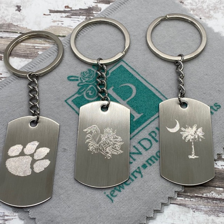 Monogram Dog Tag Key Chain - Stainless Steel
