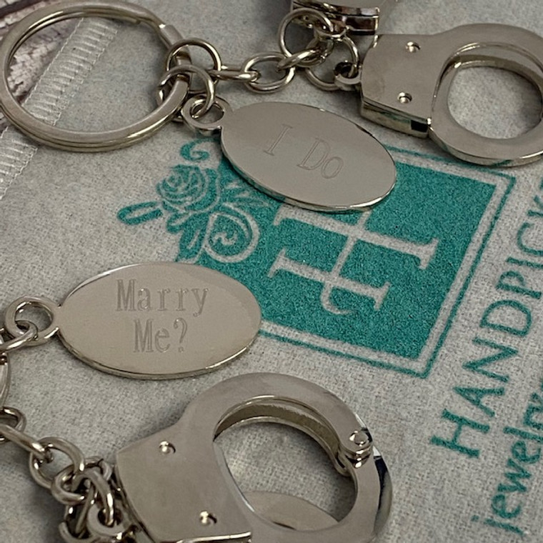 Monogram Handcuff Key Chain with Engraving Tag - Fun Monogram Gifts
